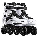Inline Skates For Men Unisex Racing PP Material 3D Aluminum Alloy Bracket PVC High Elasticity PU Wheels White-Black , 35