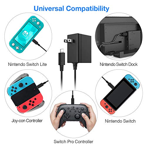 Charger for Nintendo Switch 5FT 15V 2.6A PD Fast Charging Supports TV Dock AC Power Supply Adapter Compatible with Nintendo Switch & Switch Lite Wall Charger with USB Type C Cable for Nintendo Switch