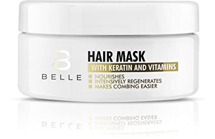 Belle® Máscara de pelo con queratina y vitaminas, reparación profunda para cabello seco,