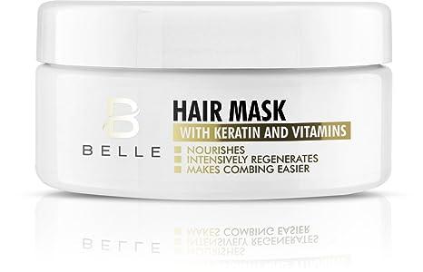 Belle® Máscara de pelo con queratina y vitaminas, reparación profunda para cabello seco, sin brillo, ...