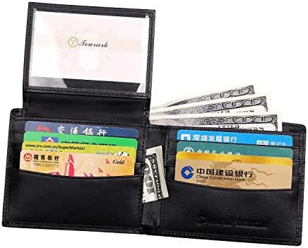 Tourark Mens Wallets RFID Blocking Luxury Napa Genuine Leather Slim Bifold Flip up ID