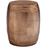 Ashley Furniture Signature Design - Elazer Indoor/Outdoor Accent Table - Contemporary - Copper Hammered Metal - Barrel Design