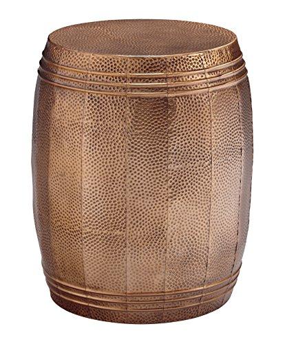 Ashley Furniture Signature Design - Elazer Indoor/Outdoor Accent Table - Contemporary - Copper Hammered Metal - Barrel Design