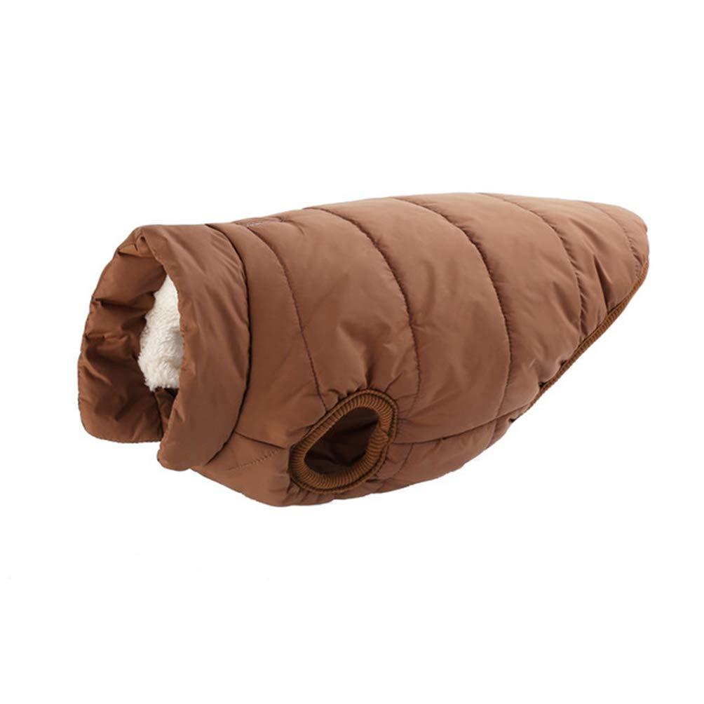 Brown 2XL Brown 2XL Jim Hugh Pet Dog Clothes for Large Dog Winter Warm Elastics Snaps Basic Dog Coat Jacket for Fleece Lining