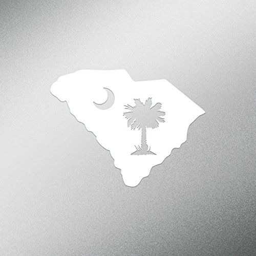 DD558 Palmetto Tree South Carolina Decal Sticker | 5.5-Inches Wide | Premium Quality White (South Carolina Palmetto Decal)