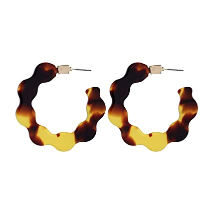 ed294bede023f Amazon.com: Agelloc Creative C-Type Semi-Circular Geometric Earrings ...