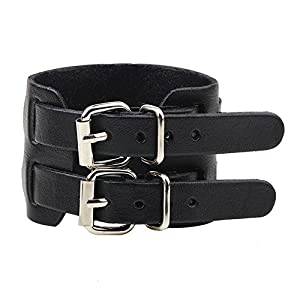 Yel and Elf Leather Bracelet for Men Women Punk Rock Double Belt Buckle Wide Cuff Bracelet Adjustable