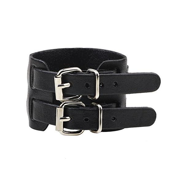 Yel and Elf Leather Bracelet for Men Women Punk Rock Double Belt Buckle Wide Cuff Bracelet Adjustable 3