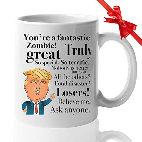Donald Trump Coffee Mug - 11 Oz Tea Cup Gift Ideas for Walker Zombie TWD Birthday Christmas President Conservative Republican