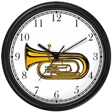(Tenor Horn, Euphonium or Tuba Musical Instrument - Music Theme Wall Clock by WatchBuddy Timepieces (Hunter Green Frame))