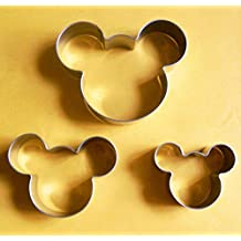 3 size Mickey mouse fondant pastry biscuit baking cookie cutter set by Lawman
