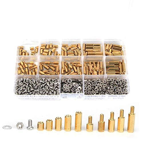 M3bh6 750pcs M3 Brass Male-Female Hex Column Standoff Support CER Pillar 304 Stainless Steel Bolt and Cross Screw Nut Assortment for PCB Board by CHILUVU Spacers /& Standoffs