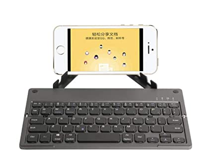 SHANGXIAN Mini Bluetooth 3.0 Folding Keyboard con Soporte,Pórtatil Teclado Inalámbrico,para iOS Android