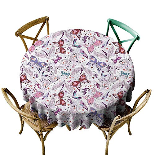 (longbuyer Round Tablecloth Butterfly,Colorful Floral Art with Hearts and Butterflies Lily Flowers Romantic Design,Lilac Purple D50,for Accent Table )
