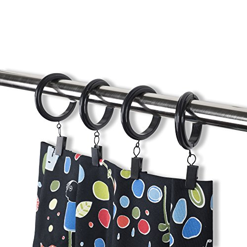 Rack & Hook Decorative Curtain Clip & Rings with Clips - Premium Quality Plastic (Set of 14, 1.5')
