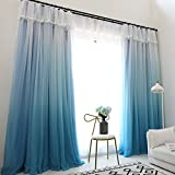YOU SA Girls Bedroom Curtains Room Darkening Blackout Grommet Window Drapes for Girls Room (2-Panel/52''W by 95''L/Blue)