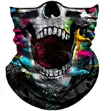 Obacle Skull Face Mask Half Sun Dust Protection, Vivid 3D Tube Mask Seamless, Durable Face Mask Bandana Skeleton Face Shield Motorcycle Fishing Hunting Cycling Festival Many Patterns