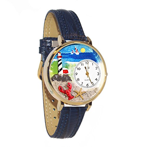 - Whimsical Watches Unisex G1210013 Lighthouse Navy Blue Leather Watch