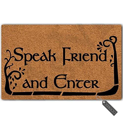(MsMr Doormat Entrance Floor Mat Funny Doormat Speak Friend and Enter Door Mat Home Decorative Indoor Outdoor Doormat Non-Woven Fabric Top 23.6