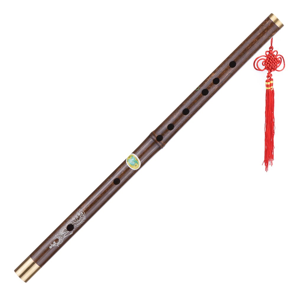 ammoon Black Bamboo Dizi Flute Traditional Handmade Chinese Musical Woodwind Instrument Key of D
