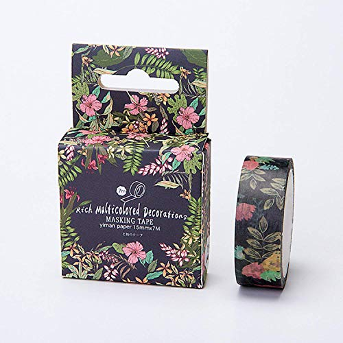 15mm x7m Cute Lotkawaii Flower Food Animals Decorative Washi Tape DIY Scrapbooking Masking Tape School Office Supply (Black) -