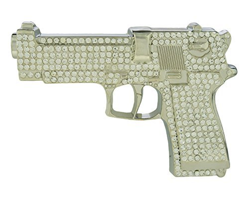 RIDE AWAY Large Gun Pistol Cut Out Belt Buckle with Rhinestones (Silver ) (Iced Out Belt Buckle)