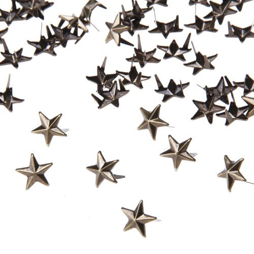 Ecloud ShopUS 10 pieces 100 Bronze 10mm Leathercraft DIY Star Studs Spots Spikes Rivets Punk