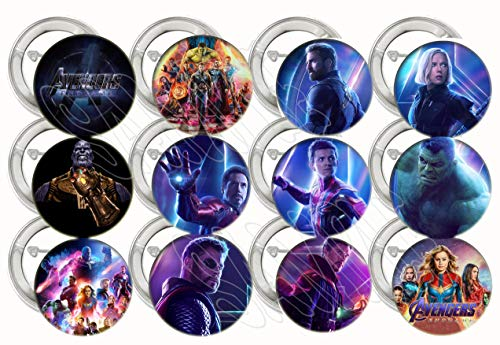 Collectible Metal Buttons - AVENGERS Endgame Movie Buttons Video Game Party Favors Supplies Decorations Collectible Metal Pinback Buttons Pins, Large 2.25