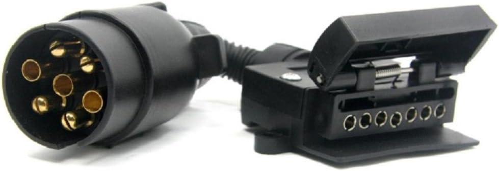 Shiwaki DC 12V 7 Pin Round To 7 Pin Flat Trailer Plug Socket Trailer Light Connector