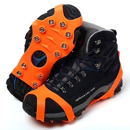 11 Spikes Crampons, Upgraded Version Stainless Steel Anti-Slip Microspikes, Ice Cleats Grips for Hiking Shoes and Boots, Hiking Fishing Walking Mountaineering (Orange, Small:US:4-7)/EU:36-40