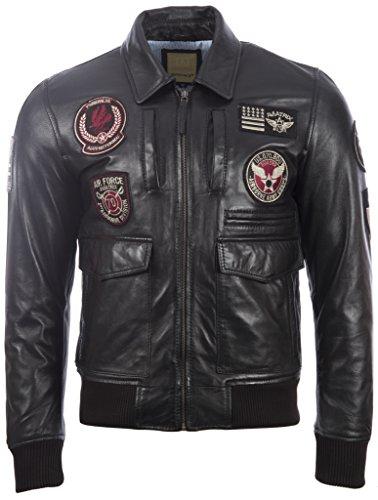 los cuero suave elegante con de de divisas Negro hombres de ultra chaqueta La la las 100 aviación por super genuina MDK CqnF0zIxw