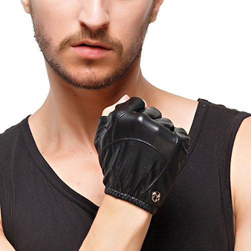- Nappaglo Men's Fingerless Leather Gloves Imported Lambskin Half Finger Driving Cycling Outdoor Shorty Thin Gloves (XXL (Palm Girth:9.5