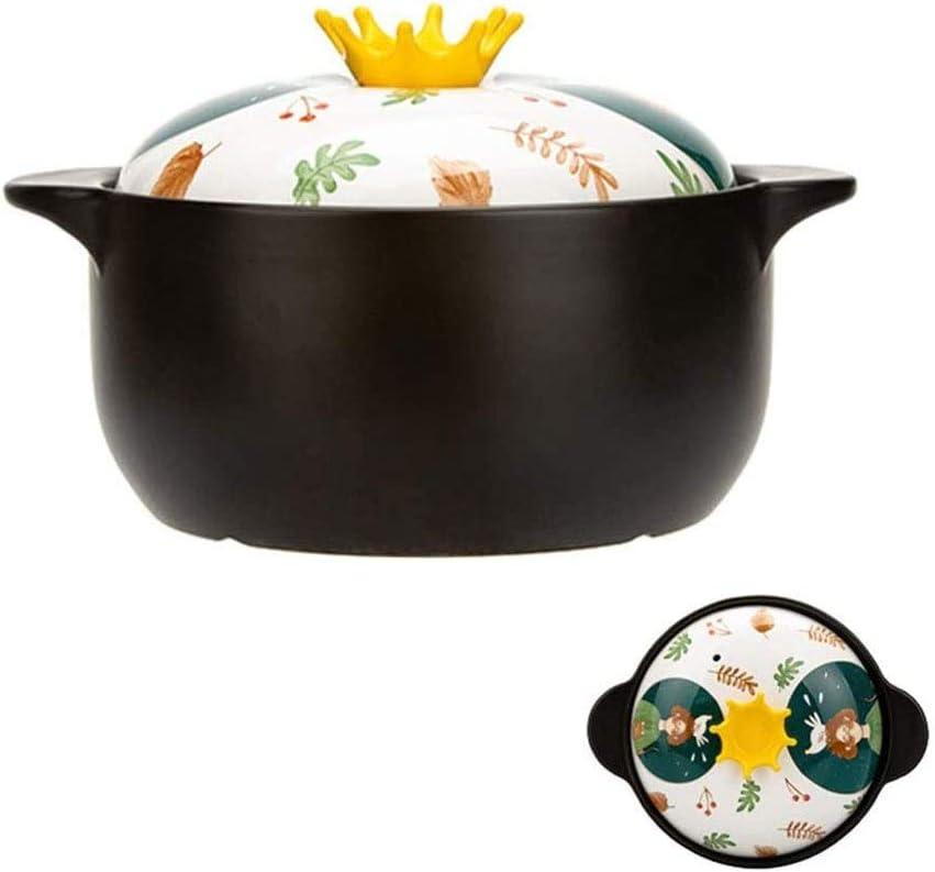 YIBOKANG Plato de cazuela, olla de cerámica linda, cacerola para el hogar, olla para cocinar para estufa de gas, estufa de cerámica eléctrica, lavavajillas, horno de microondas, sopa de salud, arcilla