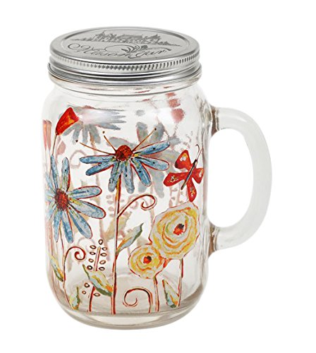 24oz Glass Mason Jar with Handle and Lid,Flower