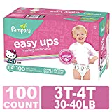 Pampers Easy Ups Diapers Size 5 (3T-4T), Pull On Disposable Training Diaper for Girls, GIANT PACK, 100 Count