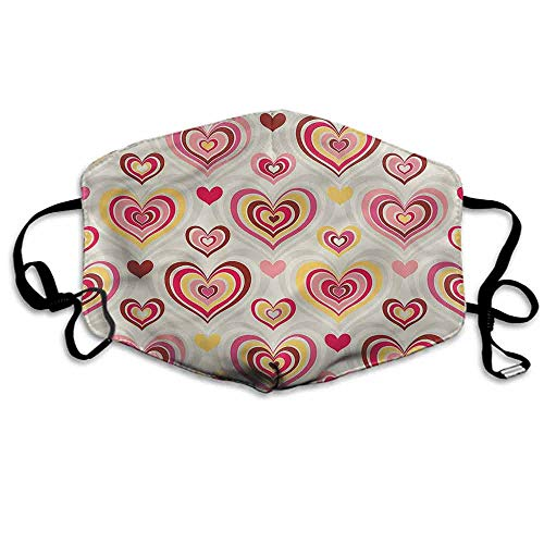 Abstract Dust Mouth Mask Retro Valentine Hearts for Men and Women W4