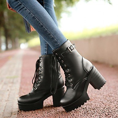 Women's 4in Chunky Winter Fashion PU Casual 1in Black Heel Gll 1 White Brown White 3 amp;xuezi Boots Boots CXaxq8n5Sw