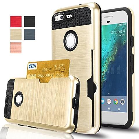 Google Pixel Case, AnoKe [Credit Card Slots Holder][Not Wallet] Hard silicone Rubber Hybrid Armor Shockproof Protective Holster Cover Case for Google Pixel - KLS (Nexus 4 Anime Case)