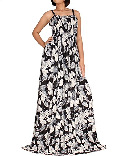 Spaghetti Straps Informal Wedding Dress - Tall Women Plus Size US26 US28 Maxi Dress Spring Wedding Guest Party Wear Summer Holiday Boho Spaghetti Strap B&W Leaves Prints (4X)