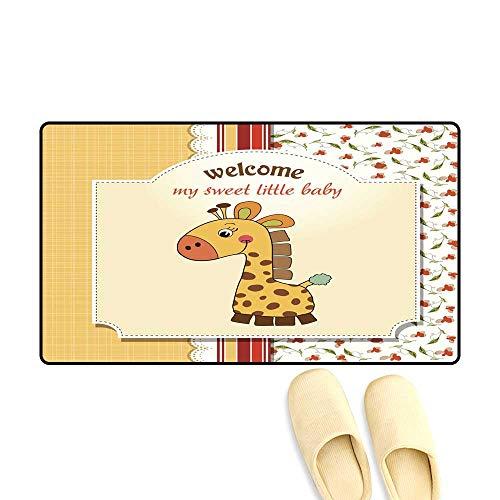 Antiskid Doormat New Baby Announcement Card with Giraffe 20