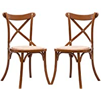 Costway Cross Back Dining Chairs Set of 2 Antique Style Solid Wooden Frame Side Chairs with Rattan Seat (Oak)