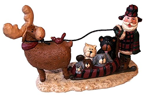 RARE 2009 Blossom Bucket Northwood Santa Claus w/ Moose Pulling Sled of Critters Resin (2009 Moose)