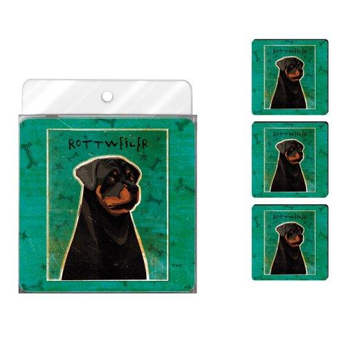 (Tree-Free Greetings NC38007 John W. Golden 4-Pack Artful Coaster Set, Rottweiler)
