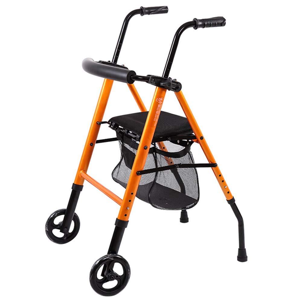 アルミニウム合金の古い歩行器 - リハビリテーションウォーカーとの2つのラウンドで折りたたみ式のストロークウォーカー4脚の杖 - 140KGを負担することができます  Orange B07L2YZ6B6