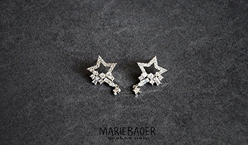 Korea imported s925 needles bright flash emulation Micro Pave zircon diamond earrings five-pointed star elegant silver earrings