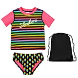 Skechers 2 Piece Swimsuit Striped Short Sleeve Rash Guard Popsicle Bikini Bottoms and Bag 4