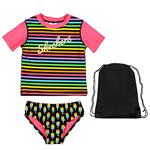 Skechers 2 Piece Swimsuit Striped Short Sleeve Rash Guard Popsicle Bikini Bottoms and Bag 4 by Skechers Surf
