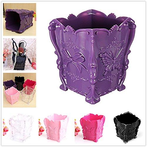 Kalevel® Makeup Organizer Box Makeup Brush Holder Organizer Makeup Storage Organizer Box Case Containers Pen Holder Desk Organizer Pencil Pen Holder for Desk (Purple)