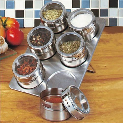 ess Steel Magnetic Spice Storage Jar Tins Container With Rack Stan (Tin Toy Restoration)