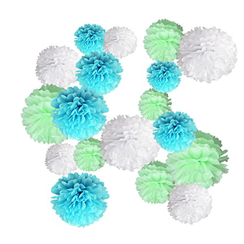 light blue pom pom decorations - 3